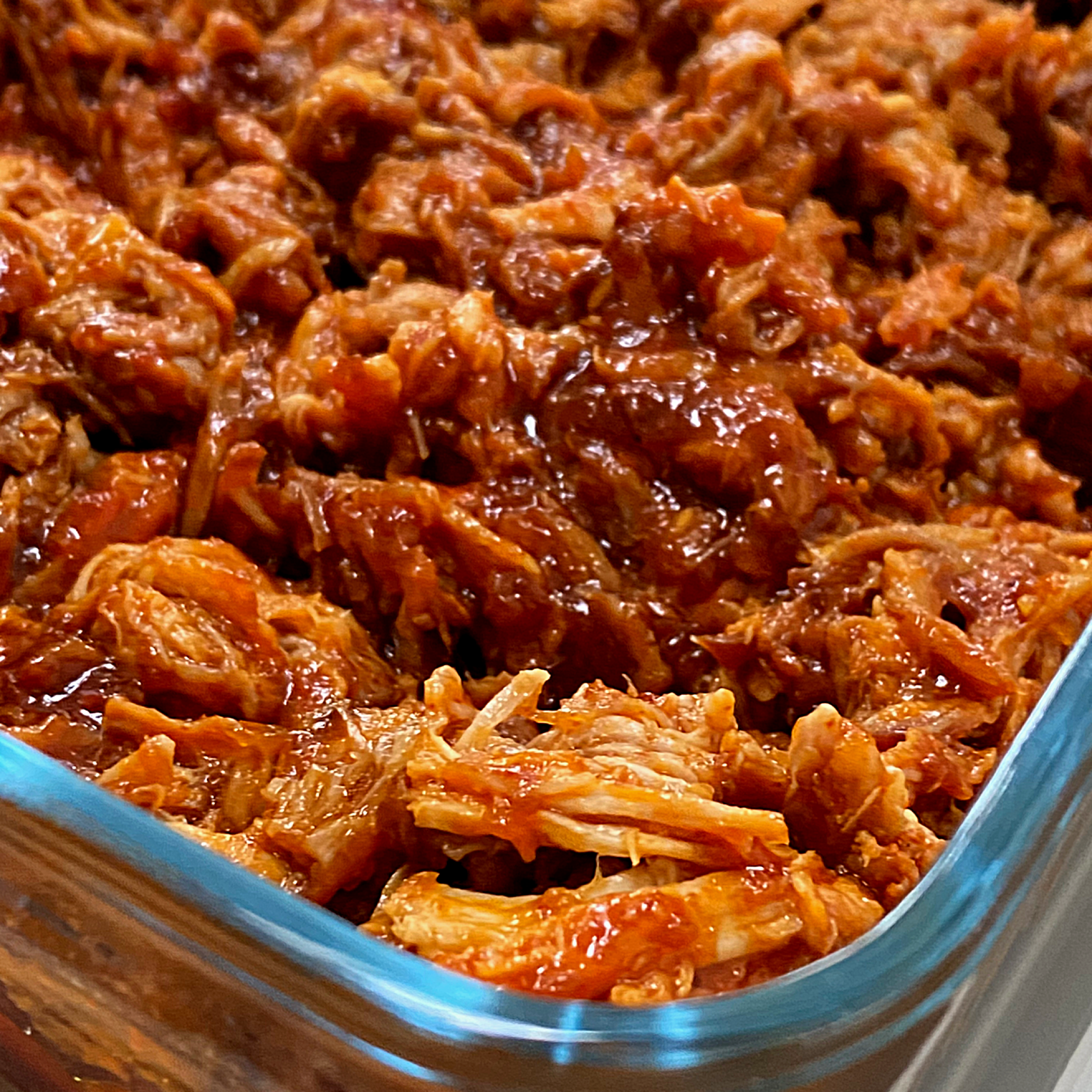 Freshly pulled pork in a dish